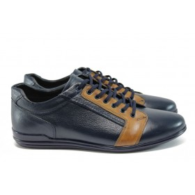 Спортни мъжки обувки - естествена кожа - сини - EO-9259
