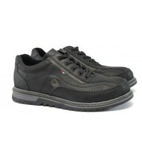 Спортни мъжки обувки - естествена кожа - черни - EO-9260