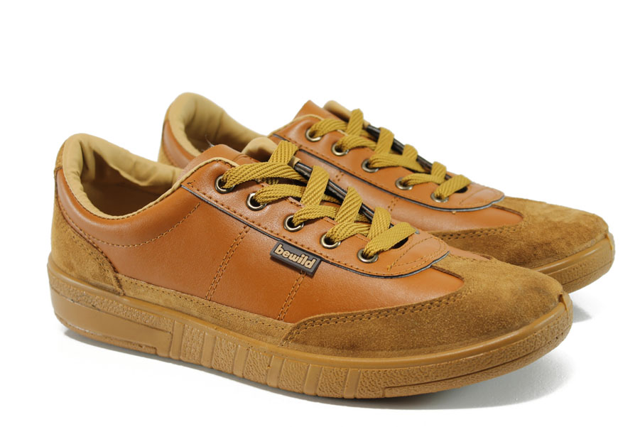 Мъжки обувки - висококачествена еко-кожа и велур - светлокафяв - EO-9301