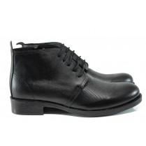 Мъжки боти - естествена кожа - черни - EO-9514