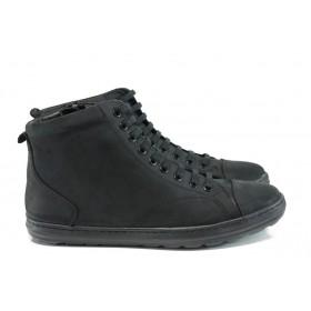 Мъжки боти - естествена кожа - черни - EO-9557