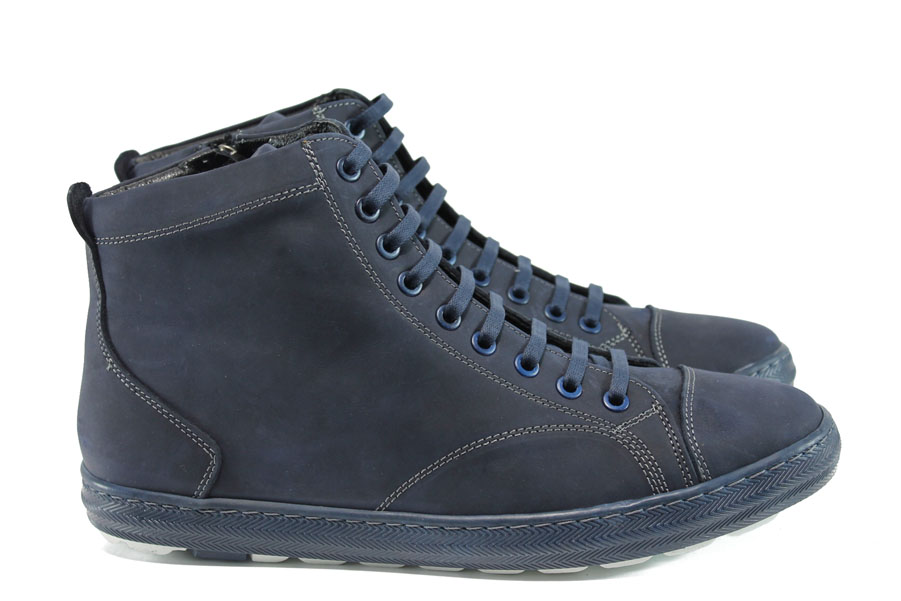 Мъжки боти - естествена кожа - сини - EO-9556