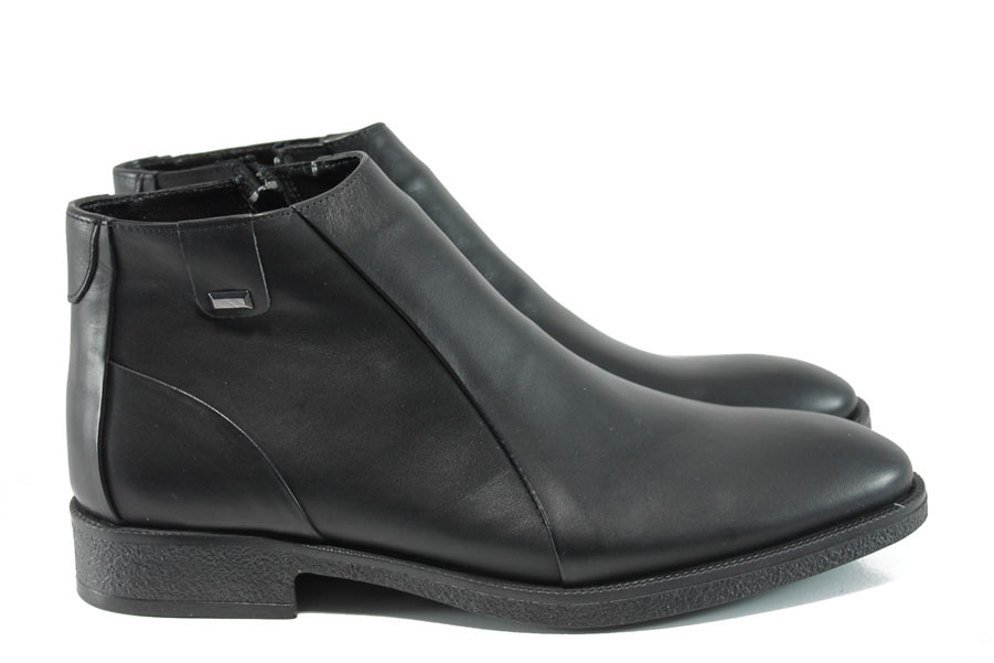 Мъжки боти - естествена кожа - черни - EO-9560