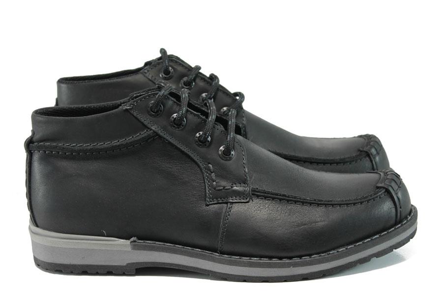 Мъжки боти - естествена кожа - черни - EO-9577