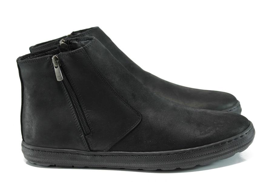Мъжки боти - естествена кожа - черни - EO-9620