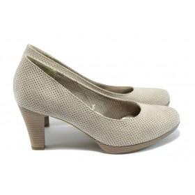 Дамски обувки на висок ток - велур - бежови - EO-7852
