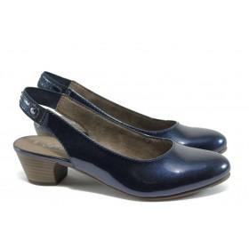 Дамски обувки на среден ток - еко кожа-лак - тъмносин - EO-7854