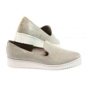 Равни дамски обувки - висококачествен текстилен материал - бежови - EO-7855