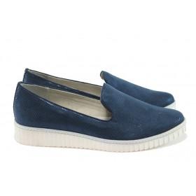 Равни дамски обувки - висококачествен текстилен материал - тъмносин - EO-7856