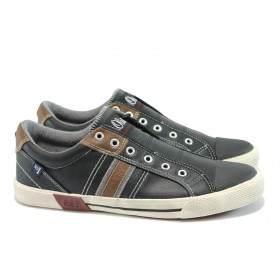 Спортни мъжки обувки - висококачествена еко-кожа - черни - EO-7857