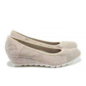 Дамски обувки на платформа - висококачествена еко-кожа - бежови - EO-7858
