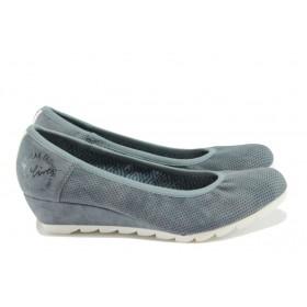 Дамски обувки на платформа - висококачествена еко-кожа - сини - EO-7859