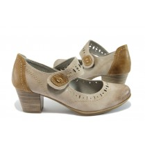 Дамски обувки на среден ток - висококачествена еко-кожа - сини - EO-7861