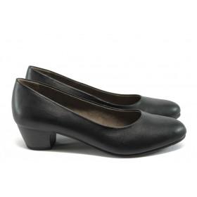 Дамски обувки на среден ток - висококачествена еко-кожа - черни - EO-7865