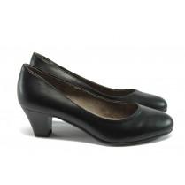Дамски обувки на среден ток - висококачествена еко-кожа - черни - EO-7866