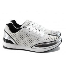 Дамски спортни обувки - висококачествена еко-кожа - бели - EO-7867