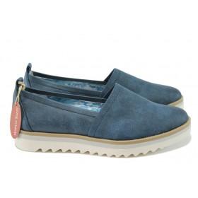 Равни дамски обувки - висококачествена еко-кожа - сини - EO-7882
