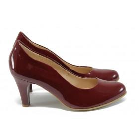 Дамски обувки на висок ток - естествена кожа-лак - червени - EO-7881