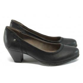 Дамски обувки на среден ток - висококачествена еко-кожа - черни - EO-7879