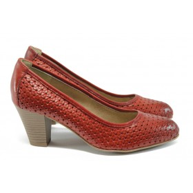 Дамски обувки на висок ток - естествена кожа - червени - EO-7883