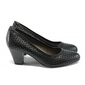 Дамски обувки на висок ток - естествена кожа - черни - EO-7884