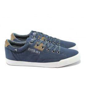 Спортни мъжки обувки - еко-кожа с текстил - тъмносин - EO-7886