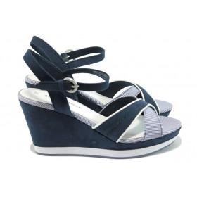 Дамски сандали - висококачествен текстилен материал - сини - EO-7887