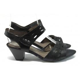 Дамски сандали - висококачествена еко-кожа - черни - EO-7890