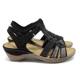 Дамски сандали - висококачествен еко-велур - черни - EO-7892