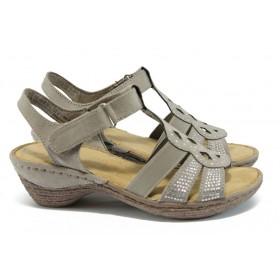 Дамски сандали - висококачествен еко-велур - бежови - EO-7891