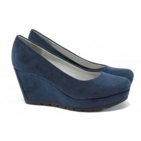 Дамски обувки на платформа - висококачествен еко-велур - тъмносин - EO-7893