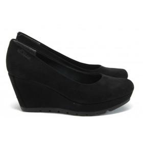 Дамски обувки на платформа - висококачествен еко-велур - черни - EO-7894