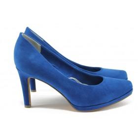 Дамски обувки на висок ток - висококачествен еко-велур - сини - EO-7897