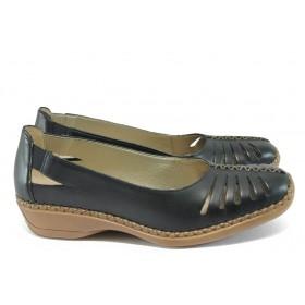 Равни дамски обувки - естествена кожа - черни - EO-7903