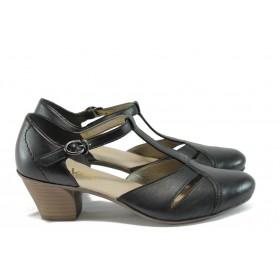 Дамски обувки на среден ток - естествена кожа - черни - EO-7936