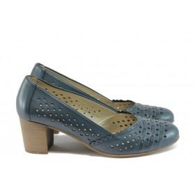 Дамски обувки на висок ток - естествена кожа - сини - EO-7942