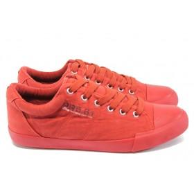 Спортни мъжки обувки - висококачествен текстилен материал - червени - EO-8006