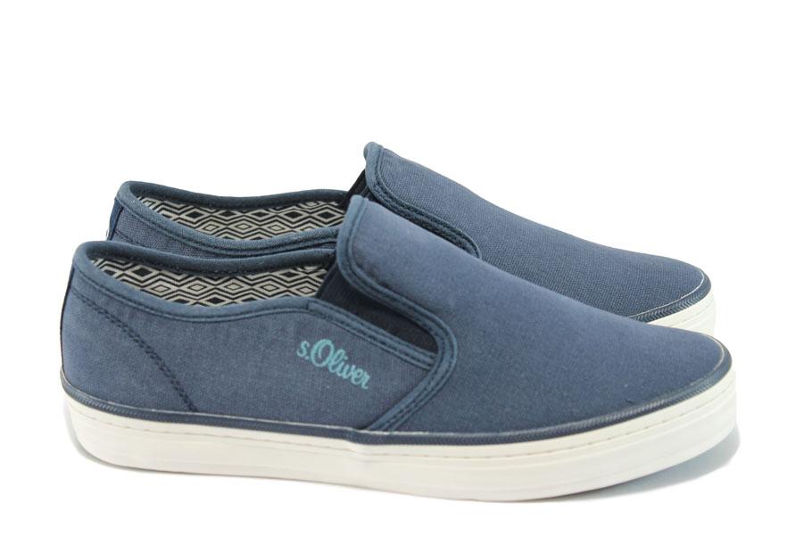 Равни дамски обувки - висококачествен текстилен материал - сини - EO-8004