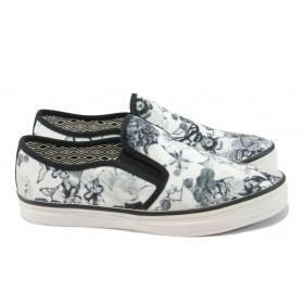 Равни дамски обувки - висококачествен текстилен материал - черни - EO-8002