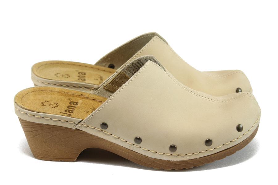 Дамски чехли - висококачествена еко-кожа - бежови - EO-8029