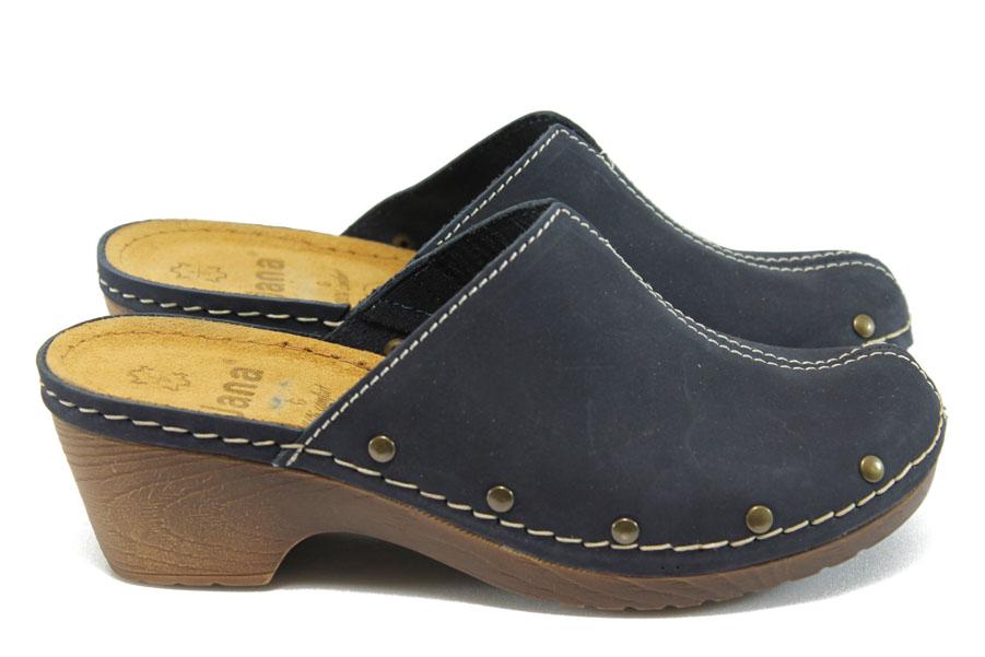 Дамски чехли - висококачествена еко-кожа - сини - EO-8030