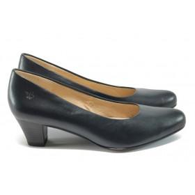 Дамски обувки на среден ток - естествена кожа - сини - EO-7997