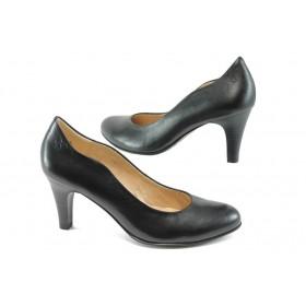 Дамски обувки на висок ток - естествена кожа - черни - EO-7996