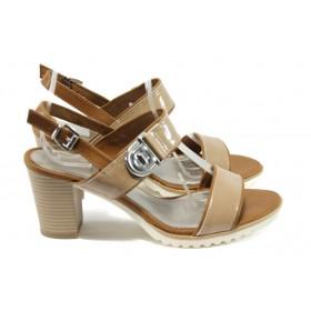 Дамски сандали - еко кожа-лак - бежови - EO-8025