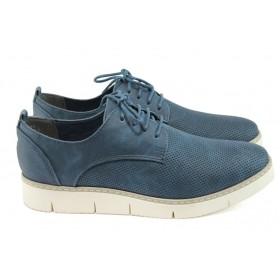 Равни дамски обувки - висококачествена еко-кожа - сини - EO-8000