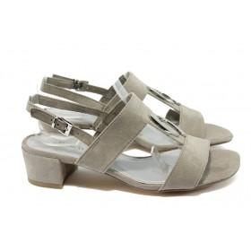 Дамски сандали - висококачествен еко-велур - бежови - EO-8022