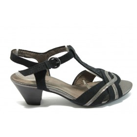 Дамски сандали - висококачествен еко-велур - черни - EO-8028
