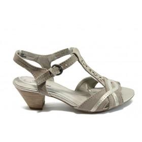 Дамски сандали - висококачествен еко-велур - бежови - EO-8027