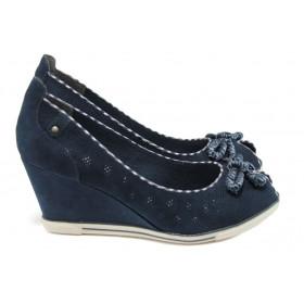 Дамски обувки на платформа - висококачествен еко-велур - сини - EO-7999