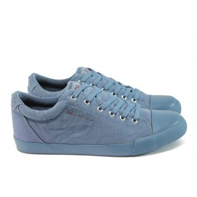 Спортни мъжки обувки - висококачествен текстилен материал - сини - EO-8007